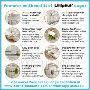 LillipHut M02 cage for small parrots