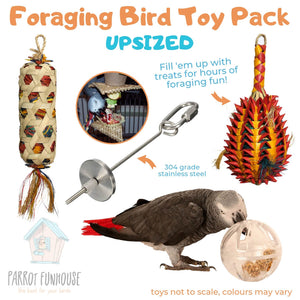 Foraging Bird Toy Pack Upsized Parrot Funhouse