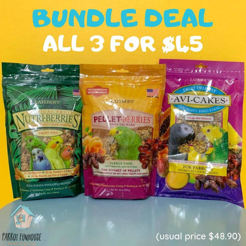 Bundle deal Lafeber Fruit Delight AviCakes PelletBerries Sunny Orchard Tropical Fruit Nutriberries Parrot Funhouse