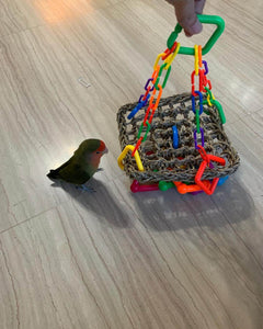 Peach faced lovebird with regular seagrass hammock Parrot Funhouse