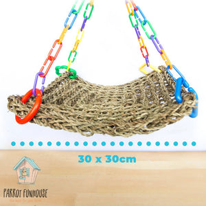 Party 30x30cm seagrass hammock bird toy Parrot Funhouse