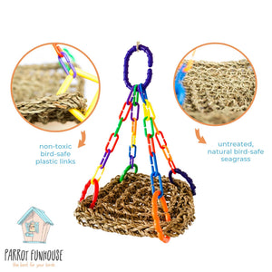Regular 18x18cm seagrass hammock bird toy Parrot Funhouse