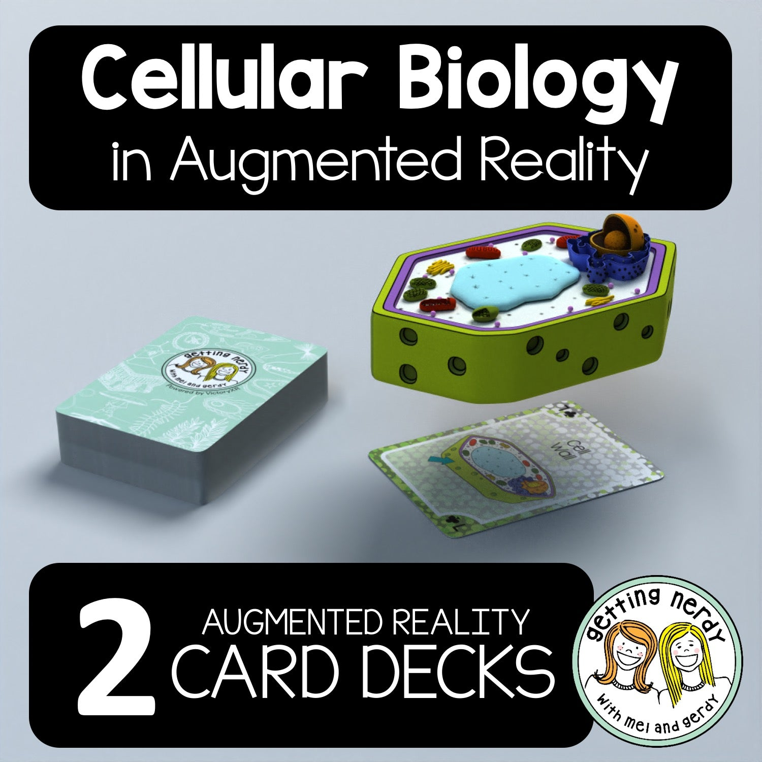 'Getting Nerdy' Cellular Biology Augmented Reality Card Deck - Two Pack