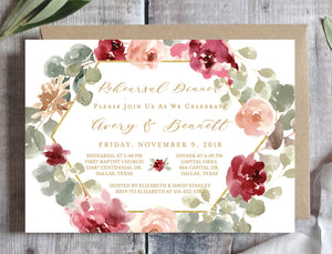 Rehearsal Dinner Invitation Printable Tagged Editable