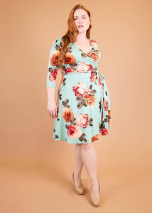 comfortable-chaos-boutique - Petunia - Mint w/ Cabbage Roses - Dress