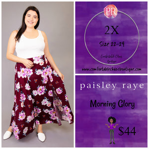 comfortable-chaos-boutique - Morning Glory - Maroon Floral (2X) - Skirt
