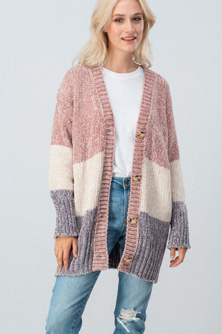 comfortable-chaos-boutique - Chenille Knit Color Block Button Cardigan -