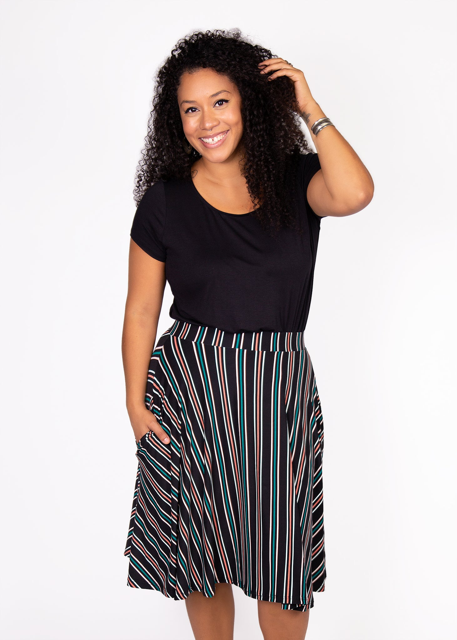 comfortable-chaos-boutique - Bloom Skirt - Black/Pink/Teal Stripe (3X) - Skirt