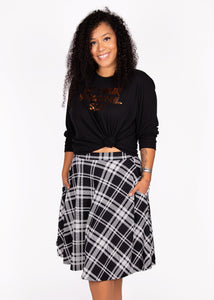 comfortable-chaos-boutique - Bloom Skirt - Black/White Plaid - Skirt
