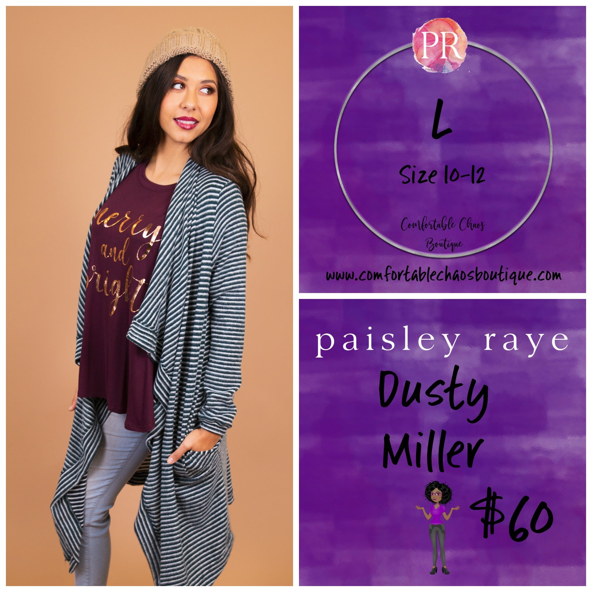 comfortable-chaos-boutique - Dusty Miller - Teal and White Stripe (L) - Layering