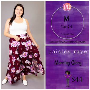 comfortable-chaos-boutique - Morning Glory - Maroon Floral (M) - Skirt