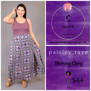 comfortable-chaos-boutique - Morning Glory - Purple Pattern (S) - Skirt