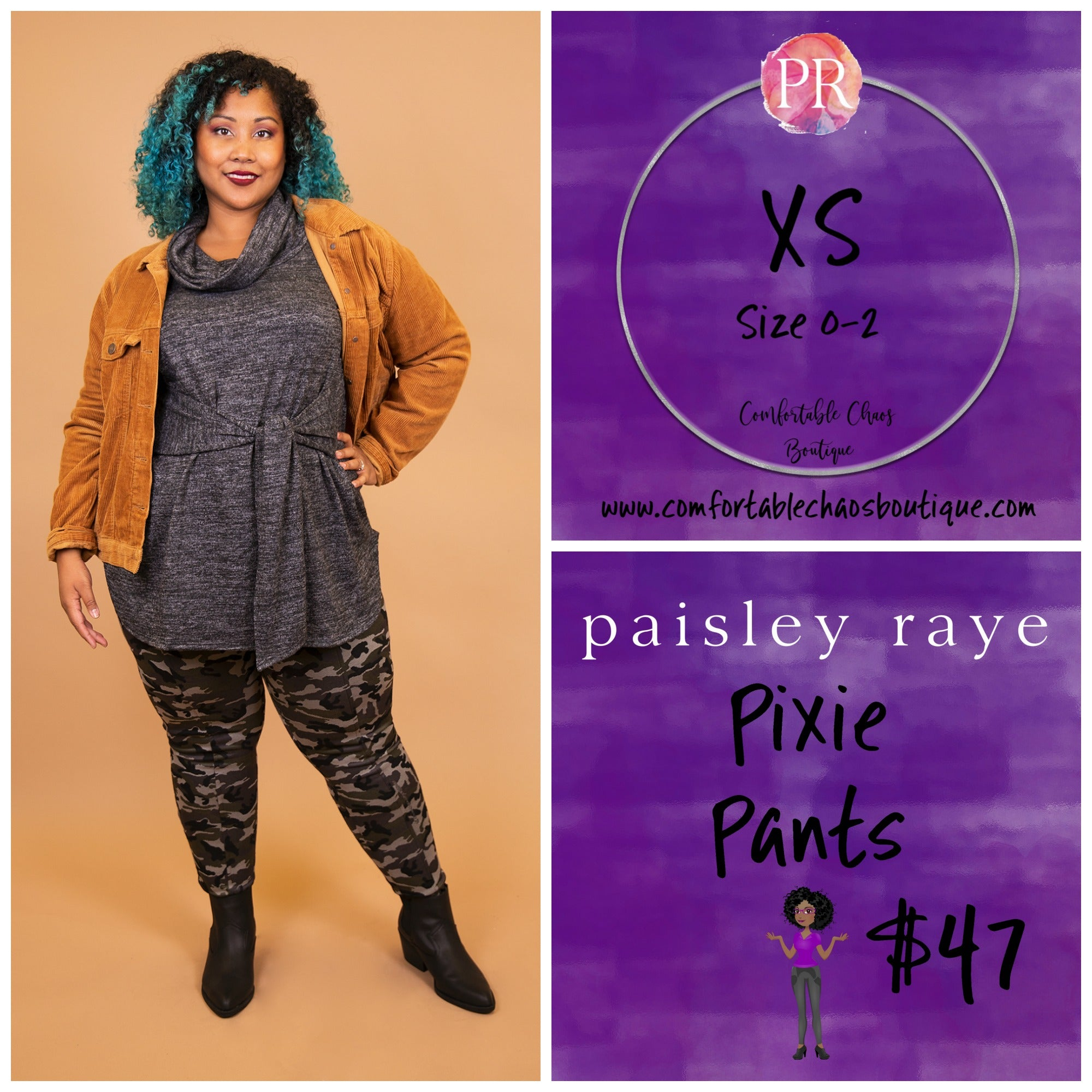 comfortable-chaos-boutique - Pixie Pant - Camo (XS) - Pants