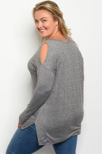 comfortable-chaos-boutique - Cold Shoulder Long Sleeve Top - Charcoal (Curvy) - Top