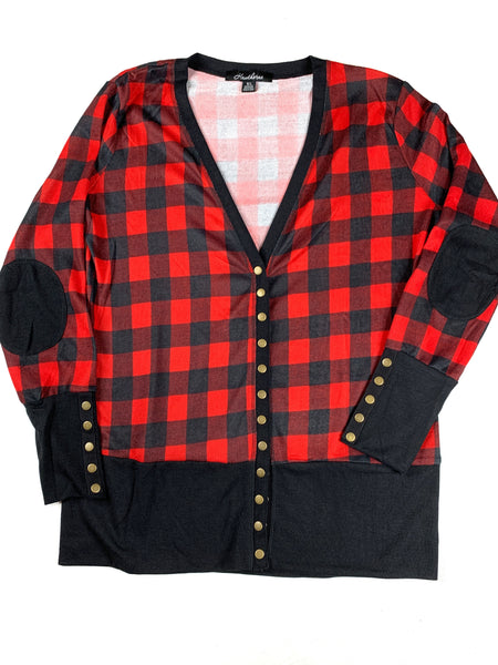 comfortable-chaos-boutique - Buffalo Plaid Snap Cardigan -