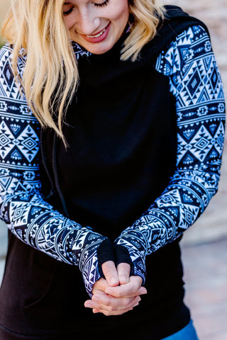 comfortable-chaos-boutique - Black Aztec Hoodie - Top