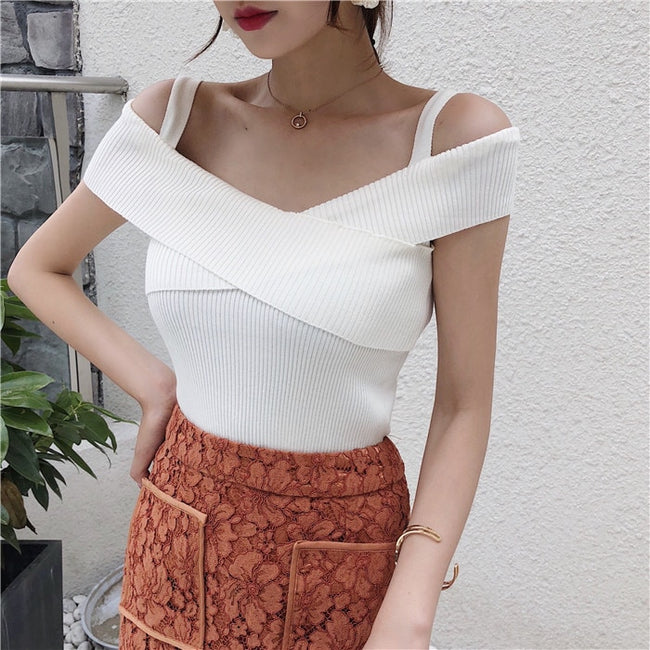 Summer Women Knitting Off-shoulder Tank Tops Knitted Camisole Sleeveless Sweater Tee