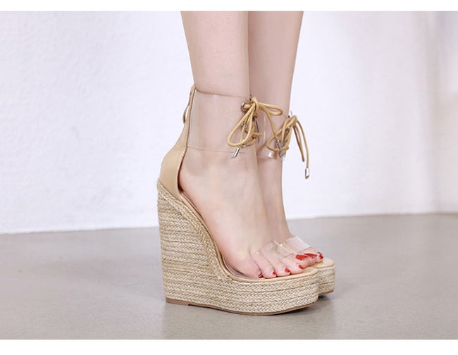 Women Transparent Sandals Lace-Up