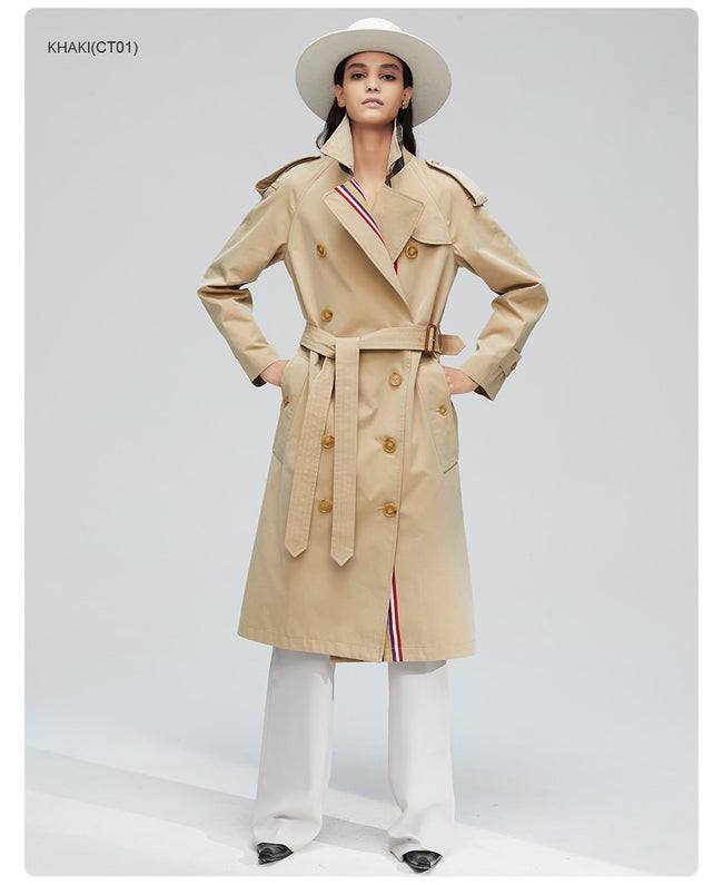 Autumn khaki trench coat women