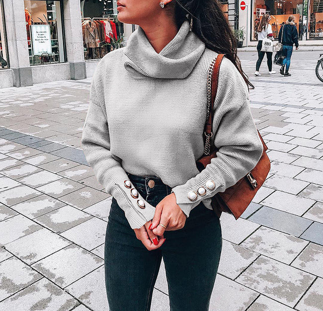 Turtleneck Button Sleeve Knitted Sweaters