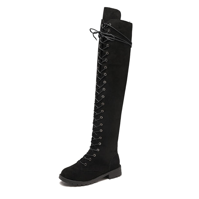 Ladies Lace Up Over The Knee Boots