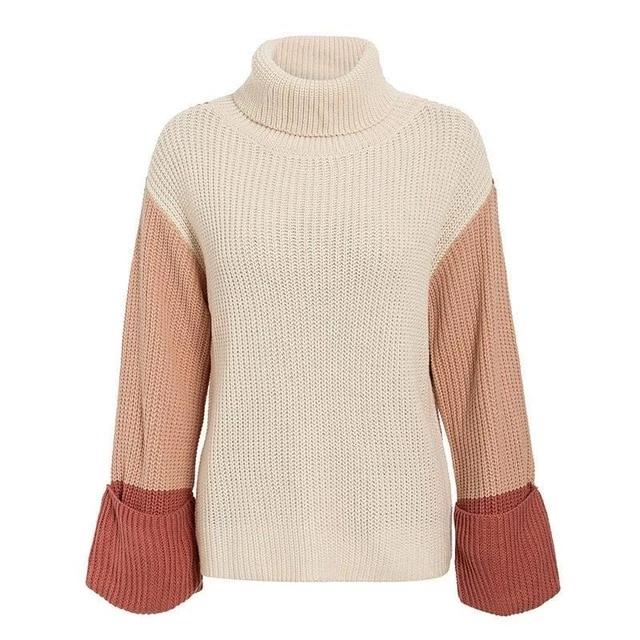 Simplee Patchwork turtleneck knitted sweaters