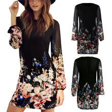 Load image into Gallery viewer, Women Sexy Chiffon Casual Long Sleeve Evening Party Beach Summer Mini Dress