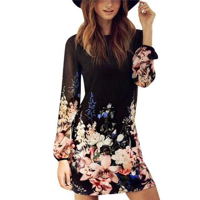 Women Sexy Chiffon Casual Long Sleeve Evening Party Beach Summer Mini Dress