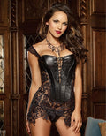 S-6XL Plus size Sexy Steampunk Women Faux Leather Burlesque lace corset