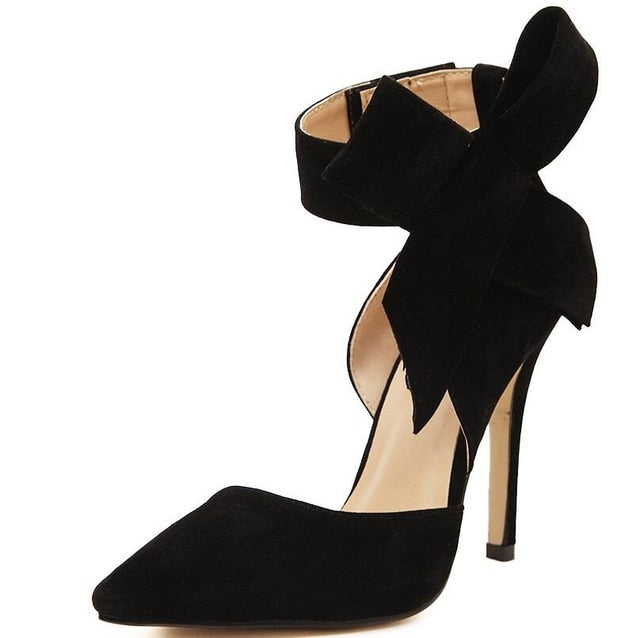 Women Big Bow Butterfly Tie Pointed Stiletto Shoes