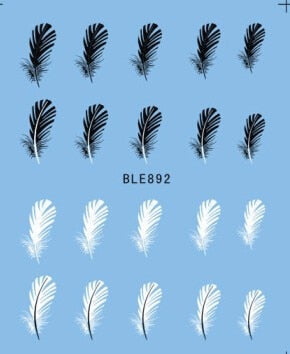 1pcs Beautiful Black White Feather Nail Art Decal Stickers