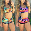 2 Set Women's Sexy Swimsuit Crop Top High Waist Shorts Floral Bikini Beach Swimwear