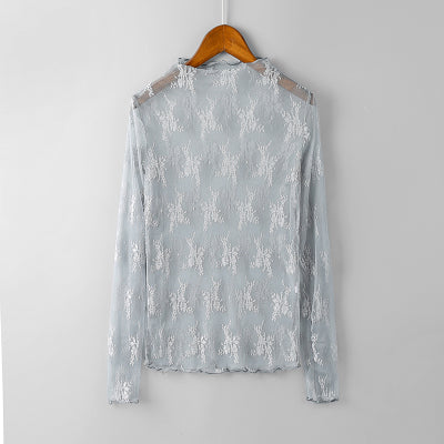 Summer Elegant Women Lace Transparent Floral Embroidery Blouse Shirt