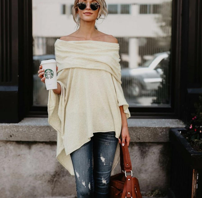 Fashion Cloak Sweater Off Shoulder Loose Slash Neck Casual Knitted Batwing Sleeve Sweater