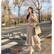 Load image into Gallery viewer, 2 piece sets-Women's Knitting Short Sweater Pullovers Elastic High Waist Pleated Long Skirts