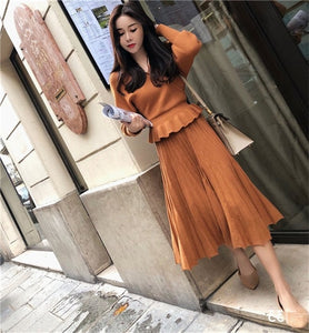 2 piece sets-Women's Knitting Short Sweater Pullovers Elastic High Waist Pleated Long Skirts