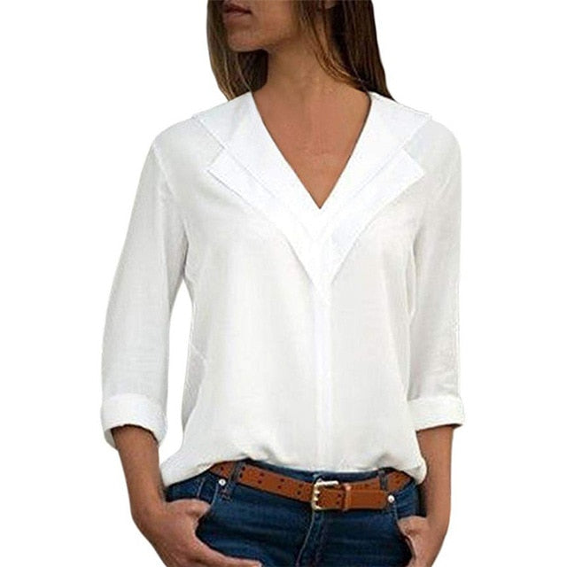 White Long Sleeve Chiffon Double V-neck Women Tops and Blouses