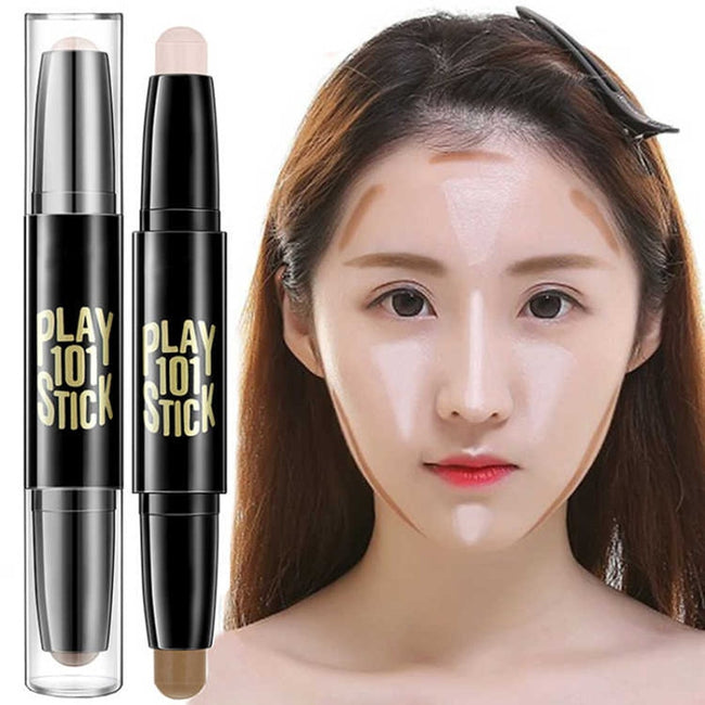 Fashion Face Makeup Concealer Pen Multi effect Double Head 3D Bronzer Highlighter Stick