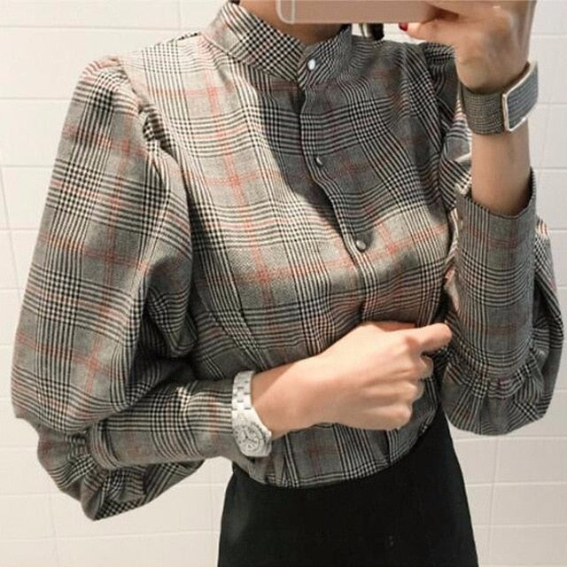 Autumn Striped Women's Shirt Blouse