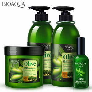 4Pcs/lot Olive Hair Care Set Anti-Dandruff Hair Shampoo Essential Oil Curls Enhancer Hair Mask Repair Frizz For Dry Damaged Hair