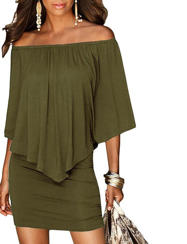 Army Green Women Mini Dress Summer Style Off Shoulder