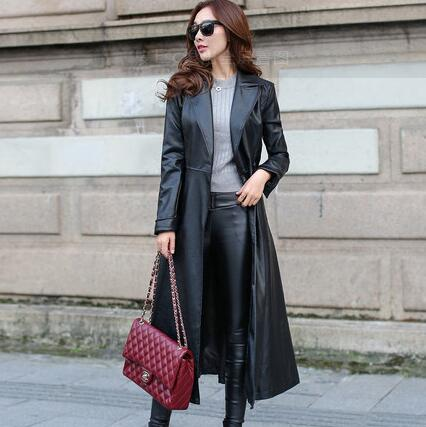 Spring/Autumn Women X-long Belted Leather Jacket