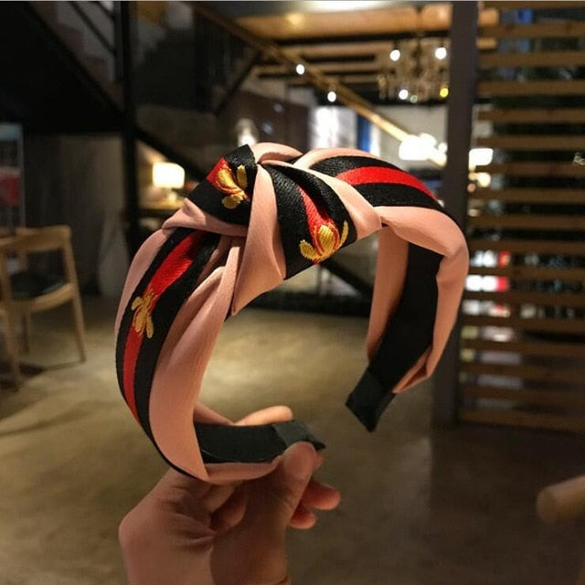 Women Fashion Turban Striped Pattern Hair Band