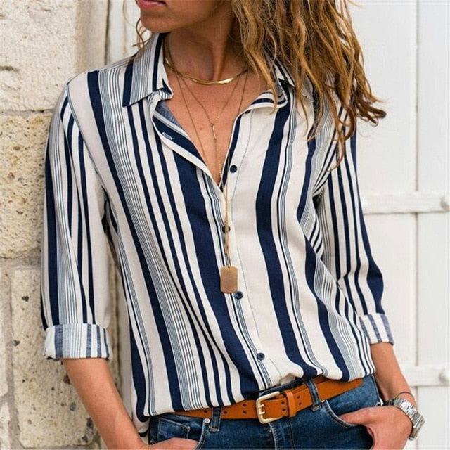 Patchwork Women Blouses Fashion Long Sleeve Turn Down Collar Office Shirt Plus Size
