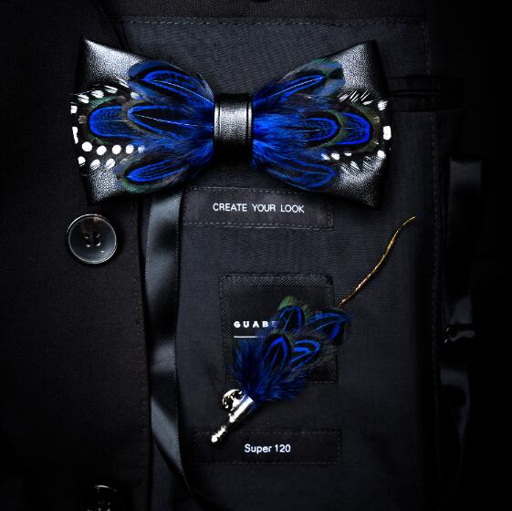 New Fashion Handmade Men's Feather and Leather Bow Tie Brooch Set Pre-tied Bow tie For Wedding Party With Gift Box