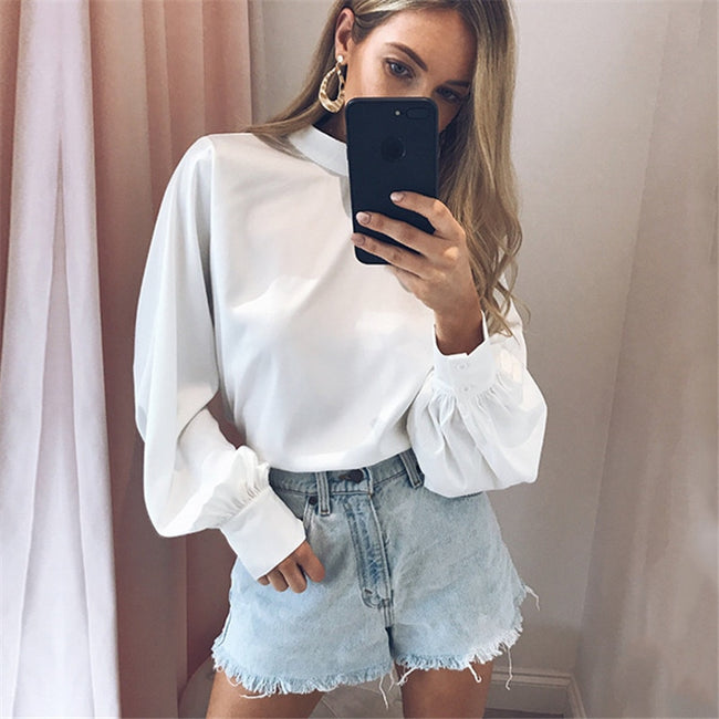 Women's Fashion Long Puff Sleeve Blouse Shirt Solid Elegant White