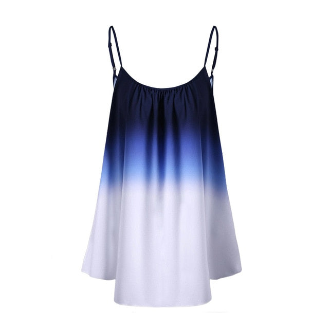 Women Plus Size Spaghetti Strap Sleeveless Casual Gradient Cami Tops