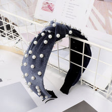 Load image into Gallery viewer, Bohemian Solid Color Soft Velvet Center Knot Wide Hairband with Pearl Knotted