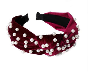 Bohemian Solid Color Soft Velvet Center Knot Wide Hairband with Pearl Knotted