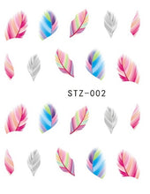 Load image into Gallery viewer, 1pcs Beautiful Black White Feather Nail Art Decal Stickers